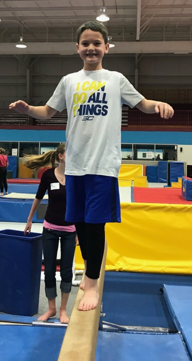 Salem Gymnastics Boy on the Balance Beam